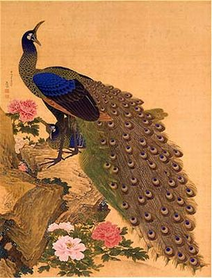 応挙の孔雀牡丹